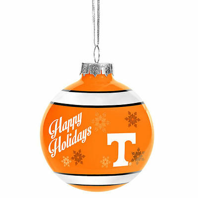 Tennessee Volunteers Happy Holidays Glass Ball Ornament - NCAA