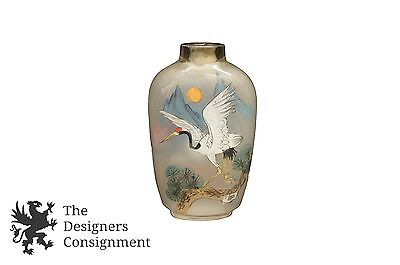 Reverse Painted Glass Snuff Bottle with Crane and Bird Bone Spoon Chinese
