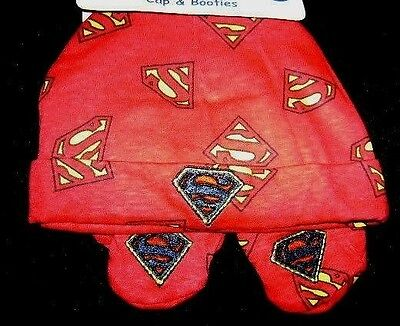 New Nwt Superman Baby Boy Hat / Cap & Booties One Size Free Shipping