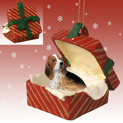 Basset Hound Dog RED Gift Box Holiday Christmas ORNAMENT