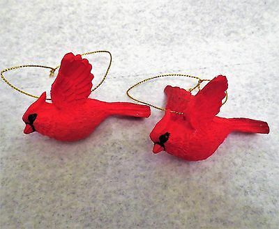 Lot of 2 Resin Flying Cardinal Bird Christmas Ornaments