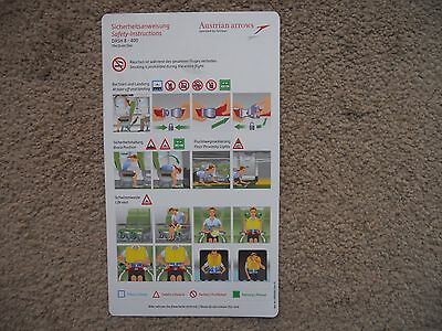 Austrian Arrows by Tyrolean Dash 8 400 Airline Safety Card