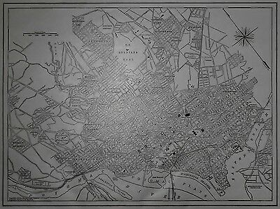 Vintage 1918 World War I Era Atlas City Map Washington DC Antique US Capitol WWI