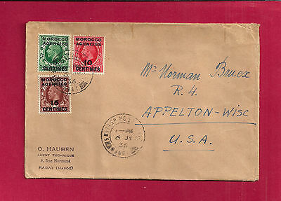 Rabat MOROCCO AGENCIES, 71 - 73 on cover to USA 1936, GIBRALTAR repeater on back