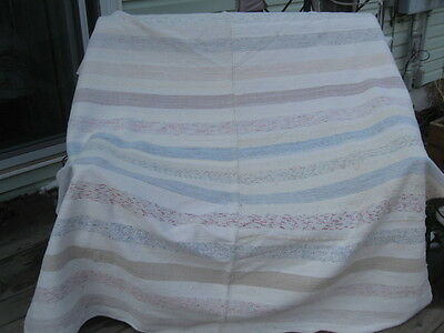 "#338 vintage BLANKET RAG WOVEN CATALOGNE cotton  MATERIAL white red 66"" x78"" in"