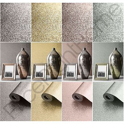 Muriva Amelia Metallic Textured Wallpaper Grey Pink Silver Rose Gold Duck Egg