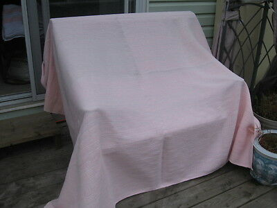 "#184 vintage Beautiful & rag woven blanket catalogne pink  79"" x 84.5"" inches"