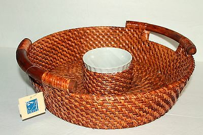 Amici Bahama Rattan Wicker Chip N Dip Tray NEW W TAGS! SERVING PIECES