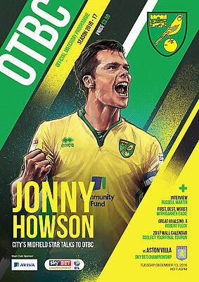 Official Norwich City Fc 2016/17 Programme And Teamsheet Vs Aston Villa