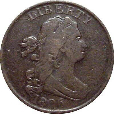 1806 Draped Bust Half Cent--Small 6, Stemless--Nice Fine