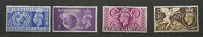 King George Vi 1948 Olympic Games Mm  Set Of Four  Ref 157