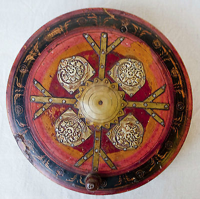 Antique Hand Crafted Round Red Painted Brass Decorated spice box 7 compartments