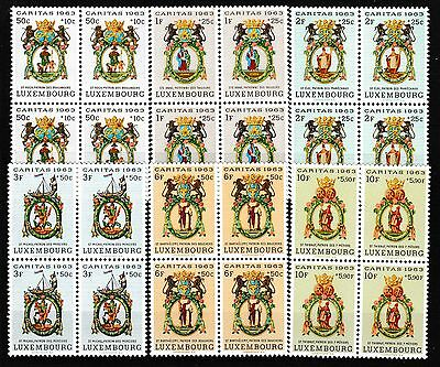 "Luxembourg 1963 ""caritas"" Charity Set Blocks Mnh"