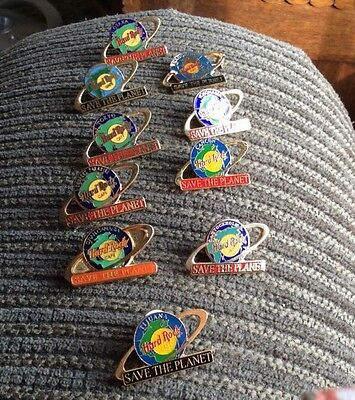 Hard Rock Cafe PINS Save The Planet  10 Different Asia Etc. Instant Collection