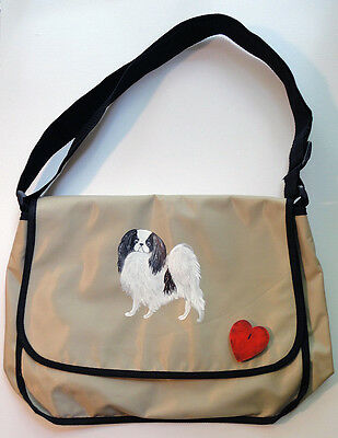 Japanese Chin Dog Cutie Messenger Bag Hand painted for you