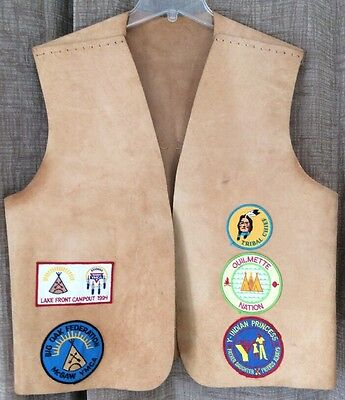 YMCA Vtg Indian Guides Vest 90s 9 Patches Illinois Nation Princess Dad Chief