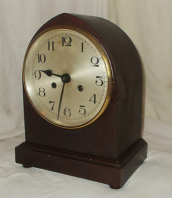 Vintage GOTHIC Style MAHOGANY Cased Mantel CLOCK W/ CHIME & LARGE Silvered DIAL