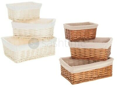 Wicker Willow Storage Basket/hamper With Lining In Small/medium/large Xmas Gift