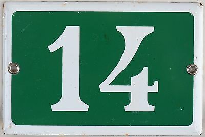 Green French house number 14 door gate plate plaque enamel steel metal sign