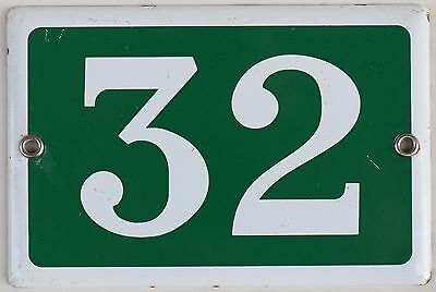 Green French house number 32 door gate plate plaque enamel steel metal sign