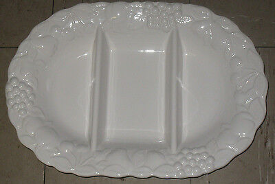 Stunning Large White Embossed  Marks And Spencer Divided Dish