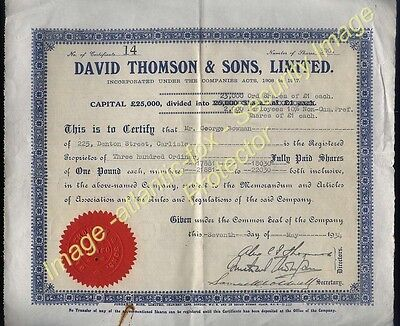 1934 Share Certificate DAVID THOMSON & SONS, LTD  300 x £1- Shares