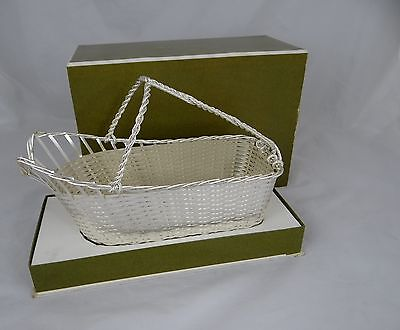 Vintage CHRISTOFLE Exquisite Woven Wine Basket Caddy Silver Plate New Condition