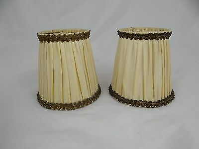 2 French Vintage PLEATED PETITS LAMP SHADES Chic