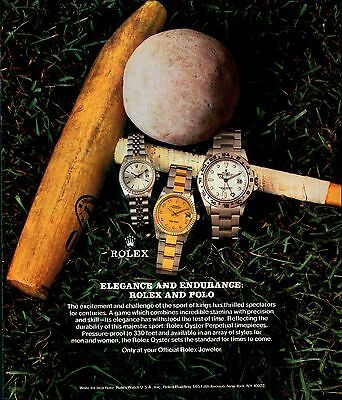 ROLEX Luxury Watch Oyster Polo Color 1990 ADVERTISEMENT PRINT AD