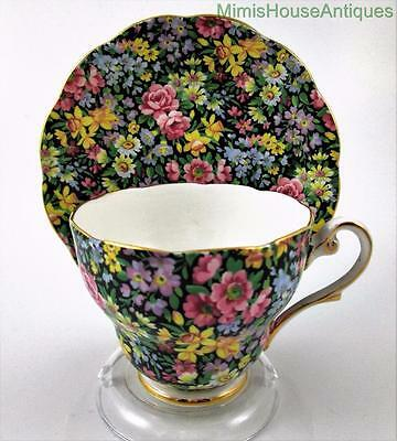 Daffodils, Roses, Daisies and More on Black - Royal Standard CHINTZ CUP & SAUCER
