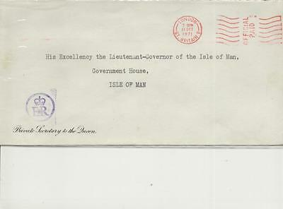 1971 Embossed/Cacheted Private Secretary to the Queen envelope to Isle of Man
