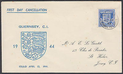 1944 Guernsey Occupation 'Arms' 2 1/2d blue Illustrated FDC; Guernsey CDS