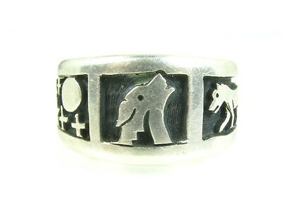 Vintage Sterling Silver Wolf Star Moon Southwestern Mens Ring 9.8g