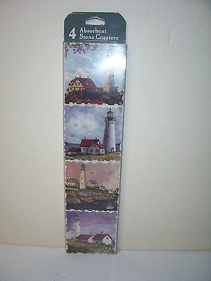 Lighthouse Stone Coasters Set of 4 Different Ones Mint in Package