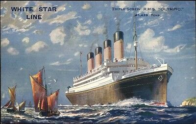 Titanic Sister-Ship RMS Olympic White Star Line c1910 Postcard EXC-MINT myn