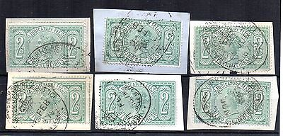 GB REVENUE QV Judicature Fees 2s blue green x 6 on piece Court of Justice stamp