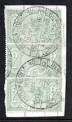 GB REVENUE QV Judicature Fees 2s green strip of 3 on piece Court of Justice stam