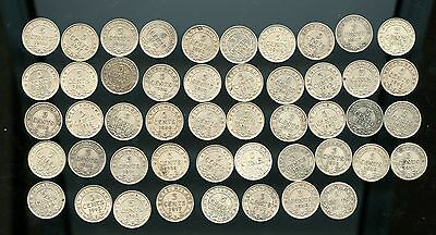 Super lot of 48 Newfoundland 5 cents 1894 - 1947 some very high grades