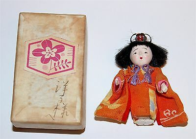 """Vintage Japanese Miniature Doll 1 5/8"""", With Signed Box 1950's"""