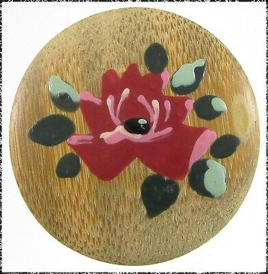 Vintage Painted Bamboo Button - Rose