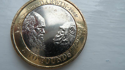 TWO POUNDS COIN RARE 2009 Charles Darwin £2 COLLECTIBLE UK