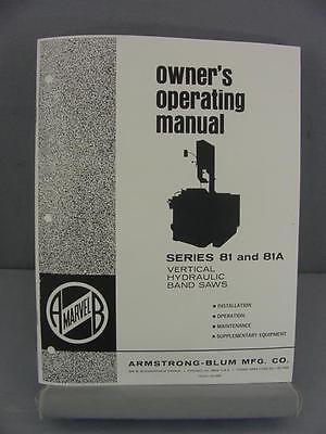 Armstrong Blum Marvel 81 & 81A Owner's Operating Manual