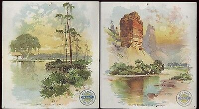 1880s 2 CLARKS ONT THREAD TRADE CARDS, BEAUTIFUL AMERICAN VIEWS, FREE SHIP TC592