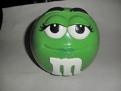 """Green M&m Canister Cookie/candy Jar With Lid - Used Jar 6"""" H"""