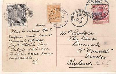 186 1910 PPC Kaiser Tsar Archduke franked Germany Austria Russia stamps to GB