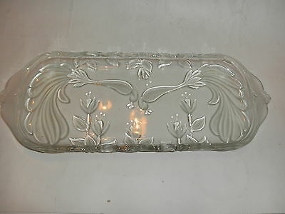 vintage crystal glass serving tray 15 by 6