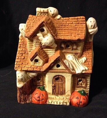 Vintage House of Lloyd Haunted Halloween Votive Candle Holder Ghosts Tealight