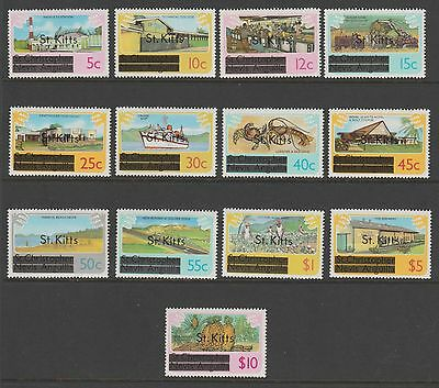 ST KITTS 1980 - COMPLETE SET OF 13 x UNMOUNTED MINT  STAMPS