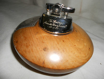 VINTAGE Round Wooden TABLE LIGHTER Tobacciana Smoking RETRO Treen 11cms
