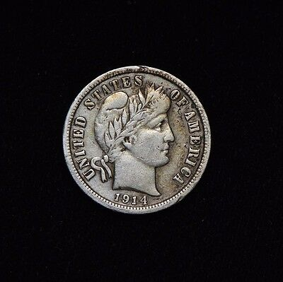 1914-D 10C Barber Silver Dime Circulated Us Type Coin